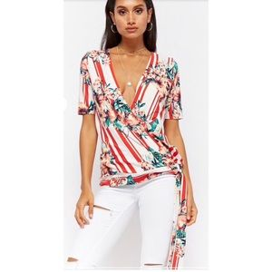 Tops - Striped Floral Surplice Top